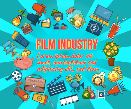 Film industry concept banner. Cartoon banner of film industry vector concept for web, giftcard and postcard Vektorové ilustrace