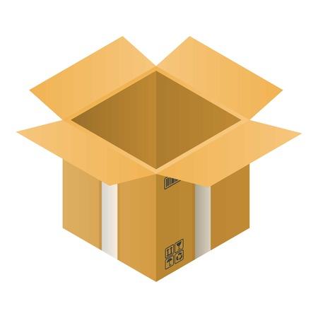 Open carton box icon. Isometric of open carton box vector icon for web design isolated on white background Illustration
