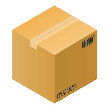 Fragile box icon, isometric style  イラスト・ベクター素材