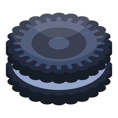 Oreo cookie icon, isometric style Illustration