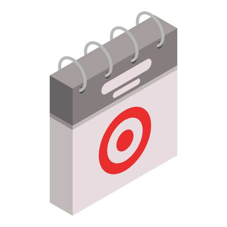 Calendar target day icon. Isometric of calendar target day vector icon for web design isolated on white background