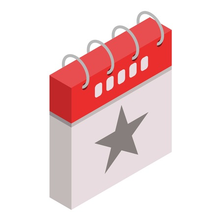 Star grey calendar day icon. Isometric of star grey calendar day vector icon for web design isolated on white background