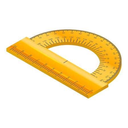 Yellow protractor icon, isometric style Illustration