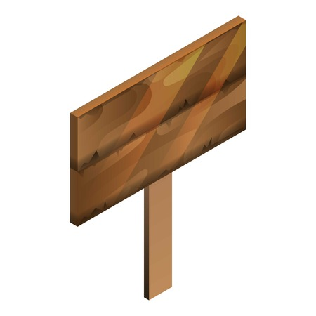 Wood panel board icon, isometric style Illustration