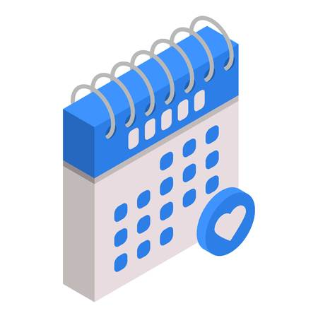 Calendar favorite date icon, isometric style