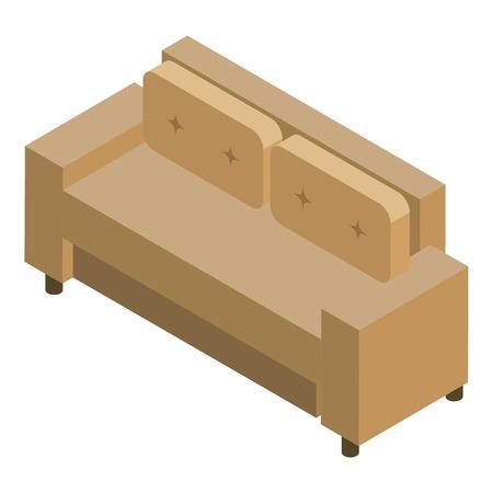 Leather sofa icon, isometric style