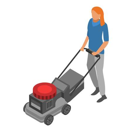 Woman use lawnmower icon. Isometric of woman use lawnmower vector icon for web design isolated on white background Stock Illustratie
