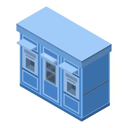 Ticket street kiosk icon, isometric style Ilustração