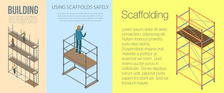 Scaffolding banner set. Isometric set of scaffolding vector banner for web design Illustration