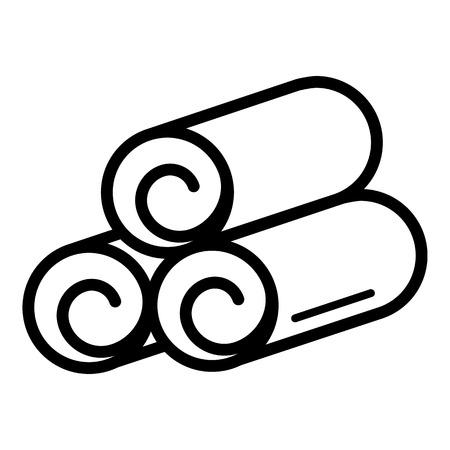 Icône de serviette roulée, style de contour