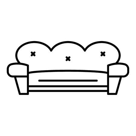 Retro sofa icon. Outline retro sofa vector icon for web design isolated on white background