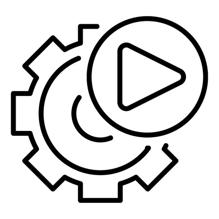 Video gear option icon, outline style