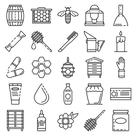 Conjunto de iconos de apicultura, estilo de contorno Ilustración de vector