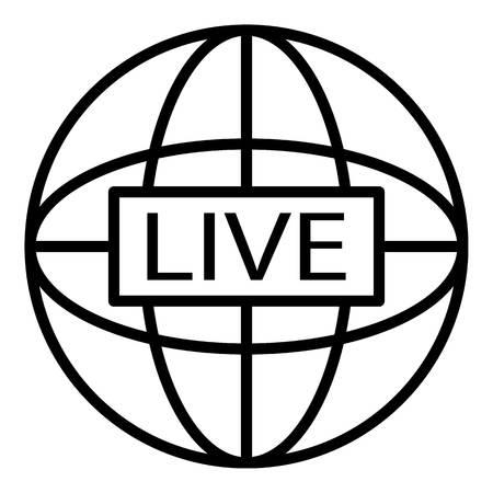Global live video blog icon, outline style Ilustração