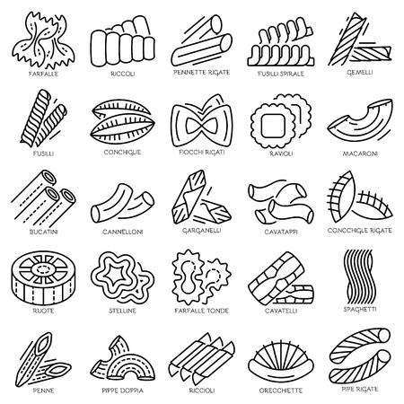 Pasta icon set, outline style