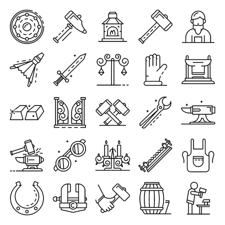 Anvil icon set, outline style