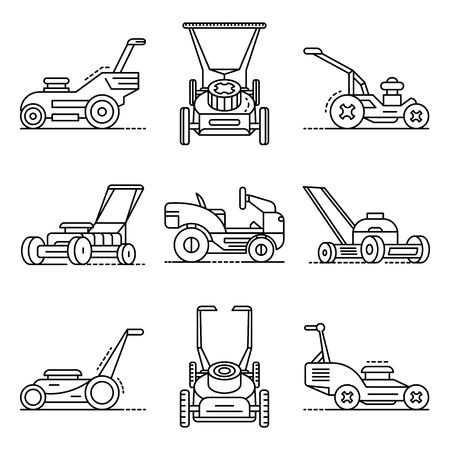 Lawnmower icon set. Outline set of lawnmower vector icons for web design isolated on white background
