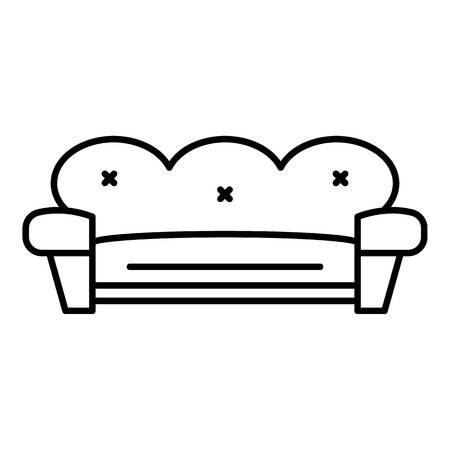 Retro sofa icon. Outline retro sofa vector icon for web design isolated on white background