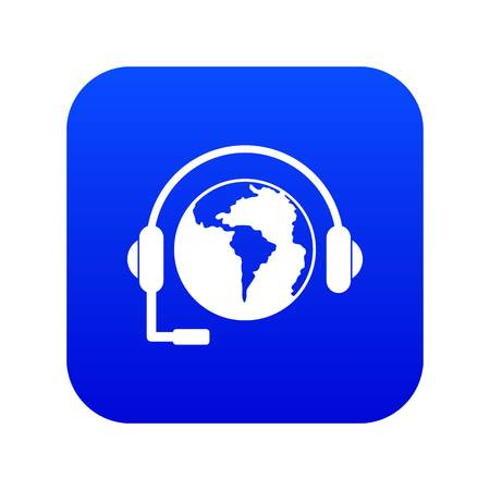World planet and headset icon digital blue for any design isolated on white vector illustration
