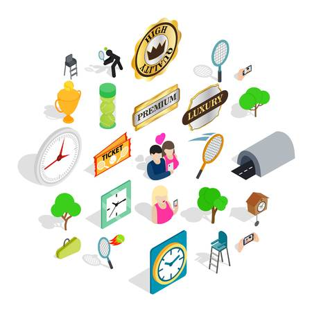 Fan icons set. Isometric set of 25 fan vector icons for web isolated on white background