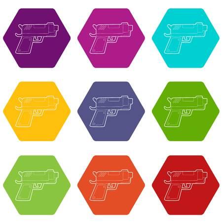 Gun icons set 9 vector