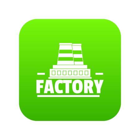 Factory icon green vector
