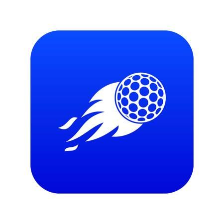Brennendes Golfballsymbol digital blau für jedes Design isoliert auf weißer Vektorillustration