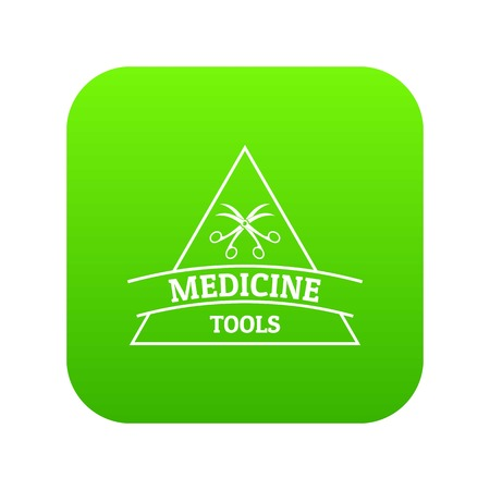 Medicine emblem icon green vector Illustration