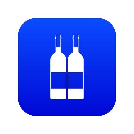 Two bottles of wine icon digital blue
