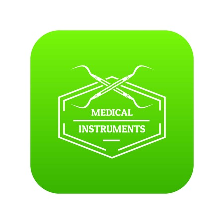 Medical instrument icon green vector Illustration