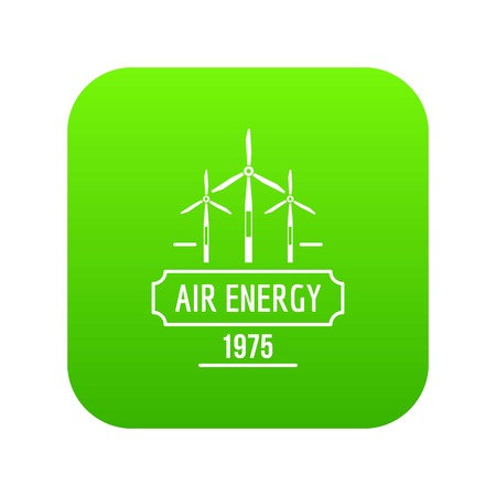 Air energy icon green vector