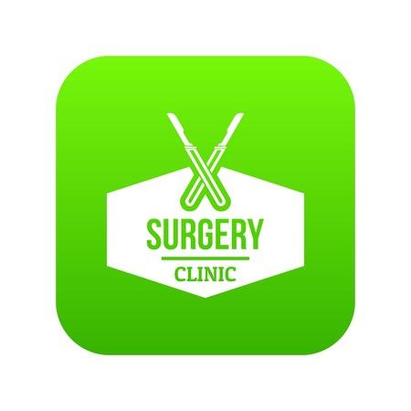 Clinic instrument icon green vector Illustration