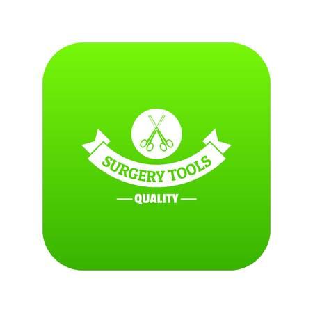 Surgery tools icon green vector