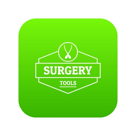 Surgery tool icon green vector