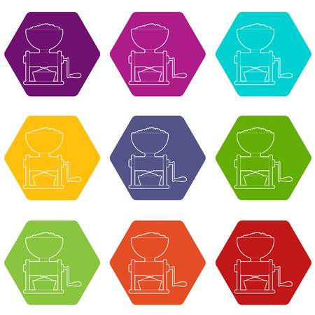 Meat grinder icons set 9 vector