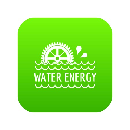 Water energy icon green vector