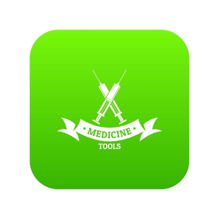 Medical equipment icon green vector