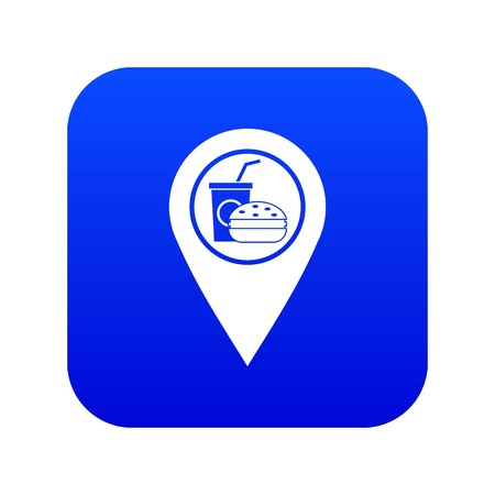Fast food and restaurant map pointer icon digital blue for any design isolated on white vector illustration