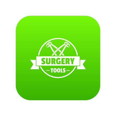 Professional surgery instrument icon green vector