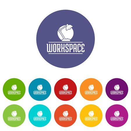 Workspace icons set vector color