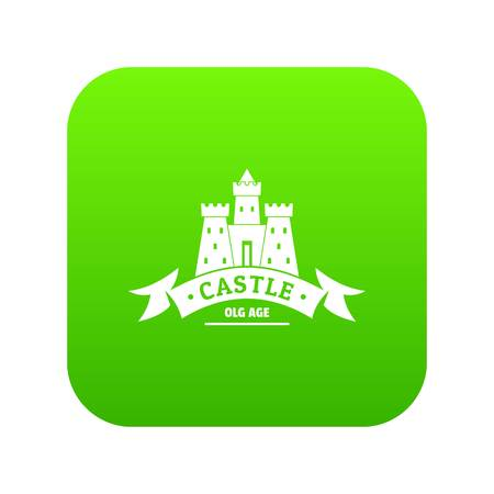 Royal castle icon green vector