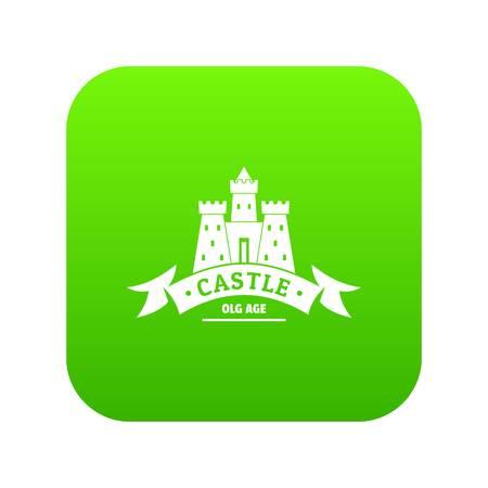 Royal castle icon green vector