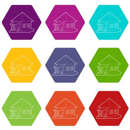 Bungalow icons set 9 vector