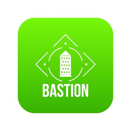 Bastion icon green vector