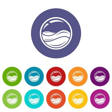 Aqua window icons set vector color
