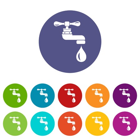 Water tap icons set vector color