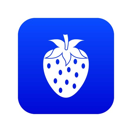 One strawberry berry icon digital blue for any design isolated on white vector illustration Illustration