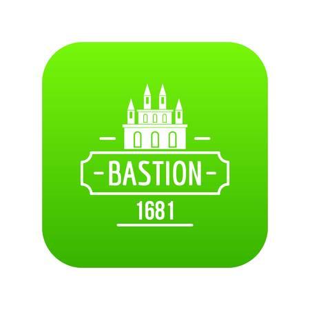 Royal bastion icon green vector