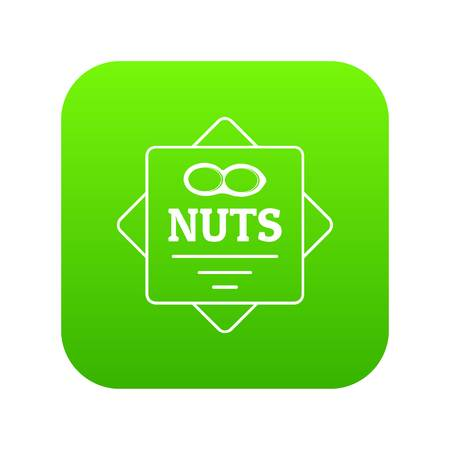 Nuts icon green vector