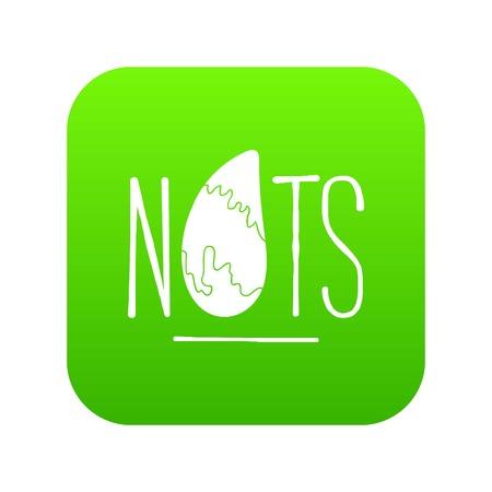 Eating nut icon green vector Vektoros illusztráció